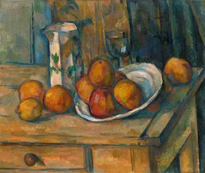 "Paul Cézanne, ""Still Life with Milk Jug and Fruit,"" ca. 1900. Oil on canvas."