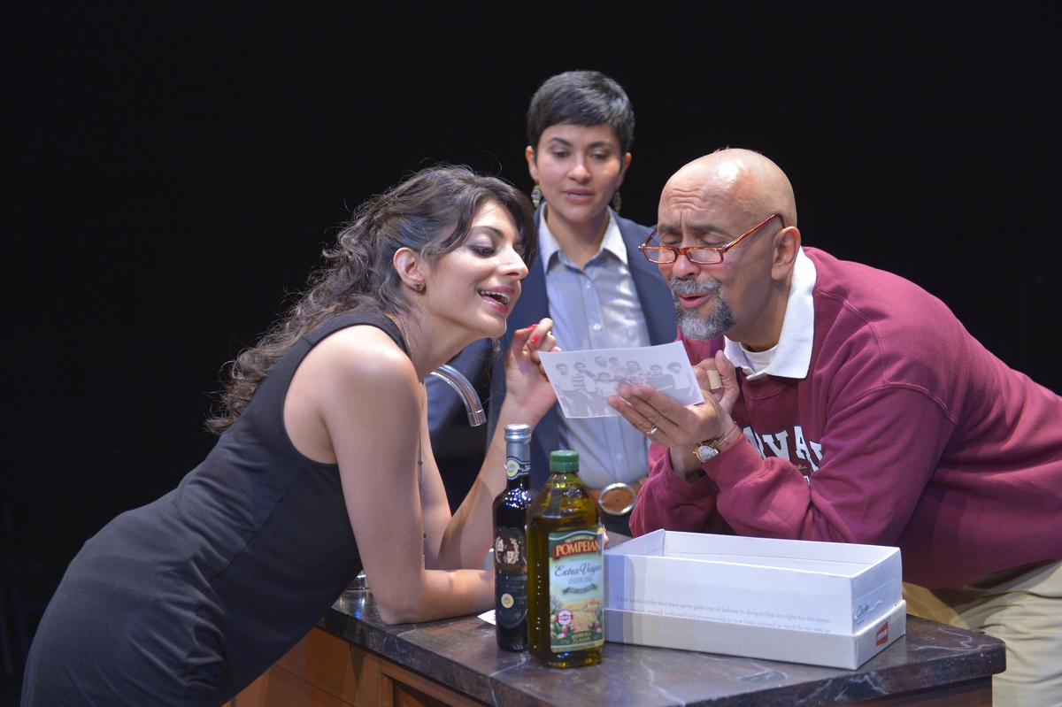 "From left, Meera Rohit Kumbhani, Monika Jolly and Bernard White in ""The Who and the What"""