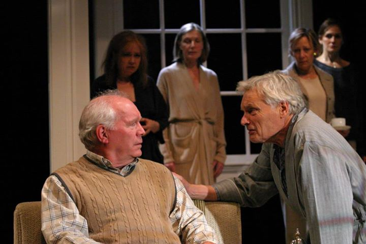 Mark Costello, left, and David Selby with the cast of