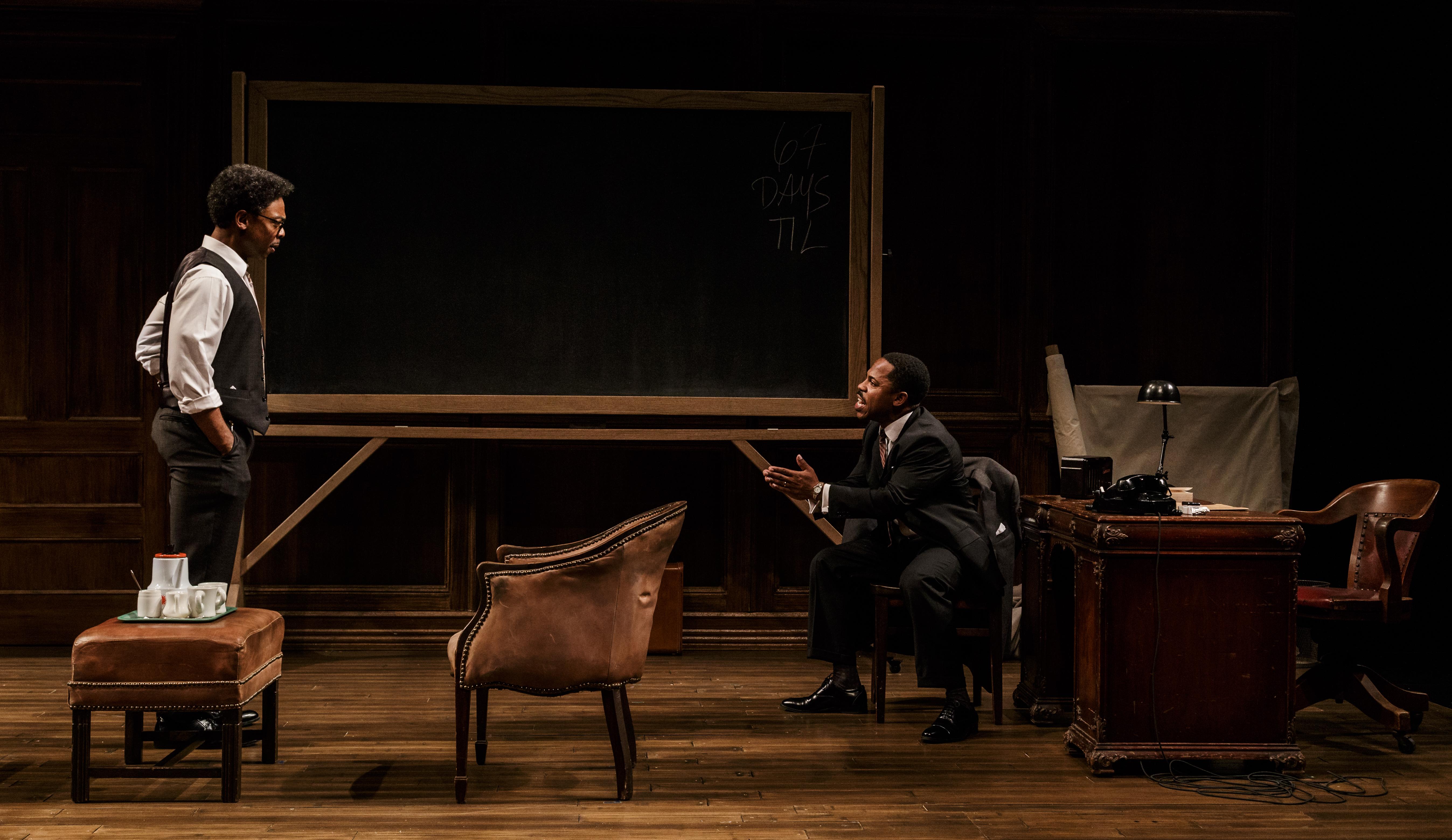 (L-R) Playwright Michael Benjamin Washington as Bayard Rustin and Ro Boddie as Martin Luther King. Jr.