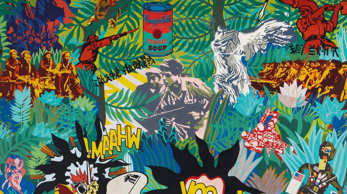 Equipo Crónica El realism socialista y el Pop Art en el campo de batalla, 1969. Museo Nacional Centro de Arte Reina Sofia, Madrid. Depósito Temporal Colección de Manolo Valdés, 2010. Photographic Archives Museo Nacional Centro de Arte Reina Sofia © Equipo Cronica (Manolo Valdés and Rafael Solbes), courtesy Marlborough Gallery, New York