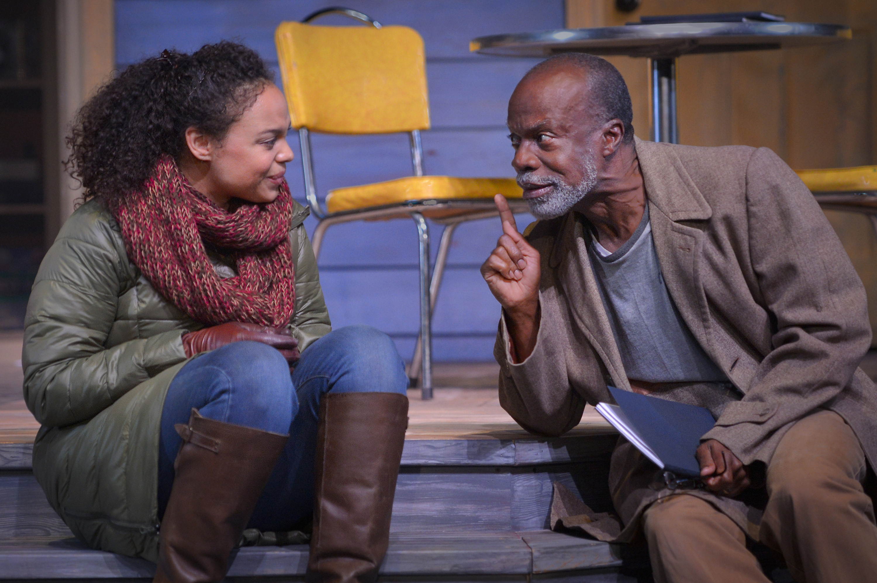 Catherine (Michelle Beck) gets advice from her mathematical genius father Robert (L. Peter Callender)