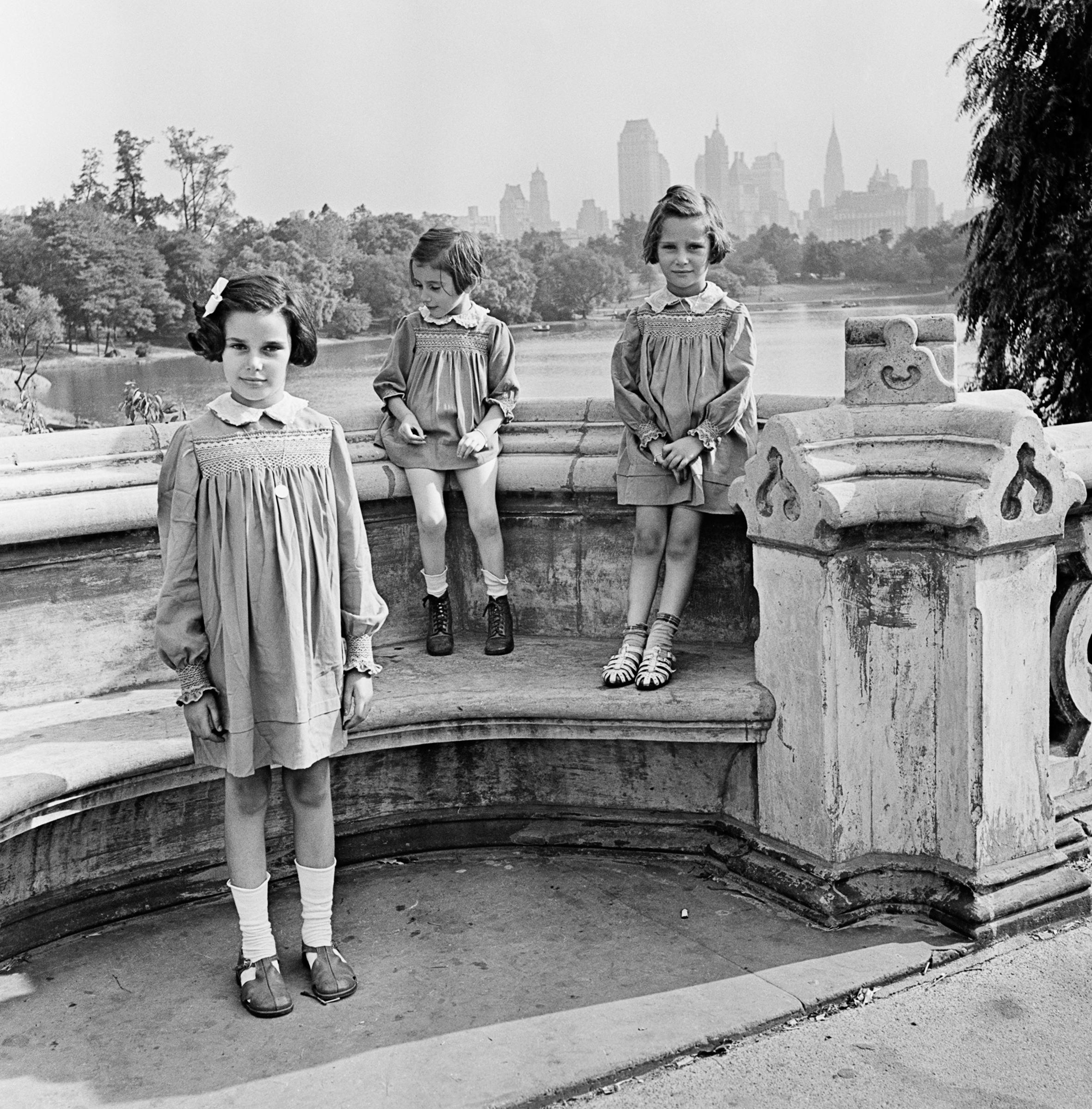 Sisters Marion, Renate, and Karen Gumprecht, refugees assisted by the National Refugee Service (NRS) and Hebrew Immigrant Aid Society (HIAS), shortly after their arrival in the United States, Central Park, New York], 1941