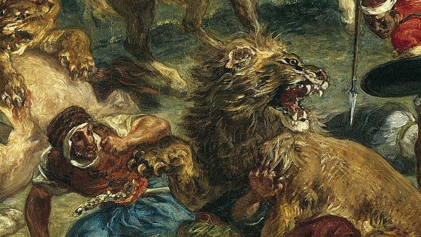 Detail from Eugène Delacroix, 'Lion Hunt', 1861 © The Art Institute of Chicago.