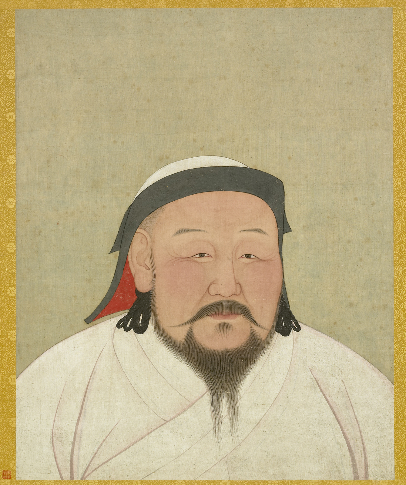 Kublai Khan as the first Yuan emperor, Shizu. Yuan dynasty (1271–1368). Album leaf, ink and color on silk.