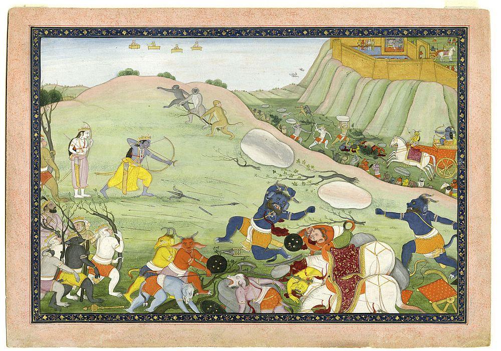 Rama kills the demon warrior Makaraksha, from an 18th century manuscript of the