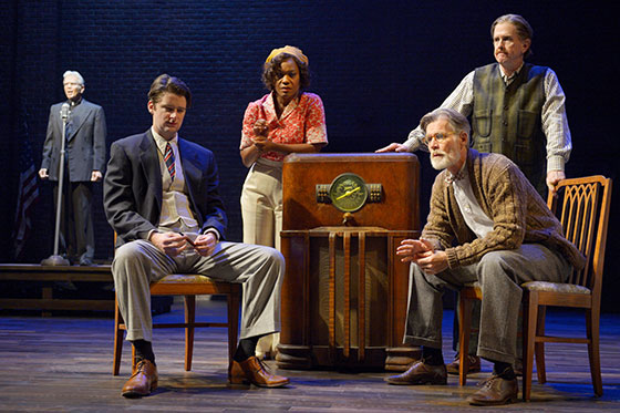 (background) Charles Shaw Robinson (Bishop Prang). (foreground, l to r) Will Rogers (Philip Jessup), Deidrie Henry (Lorinda Pike), Tom Nelis (Doremus Jessup), and David Kelly (Buck Titus). Photo courtesy of Kevin Berne/Berkeley Repertory Theatre