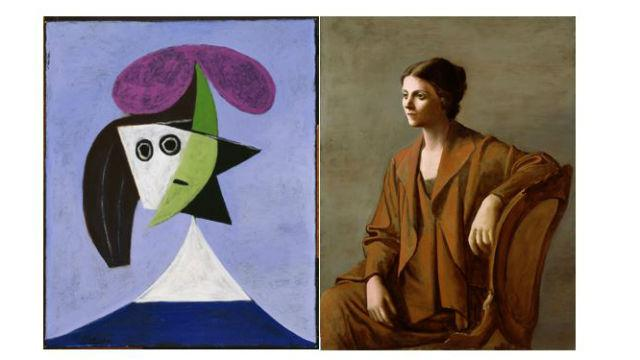 Woman in a Hat (Olga) left; Portrait of Olga Picasso. right.