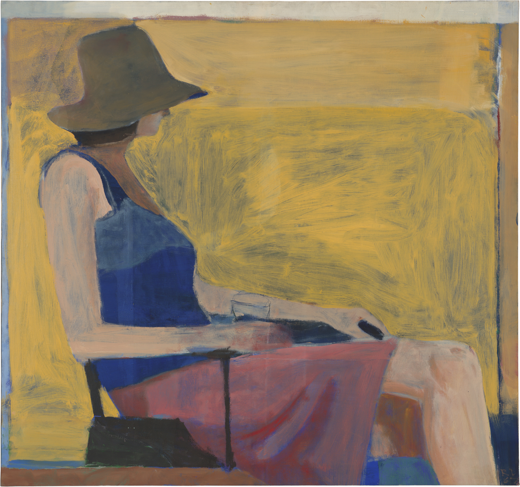 Richard  Diebenkorn, Seated  Figure with Hat,  1967; oil on canvas; National Gallery  of Art, Washington,D.C.,