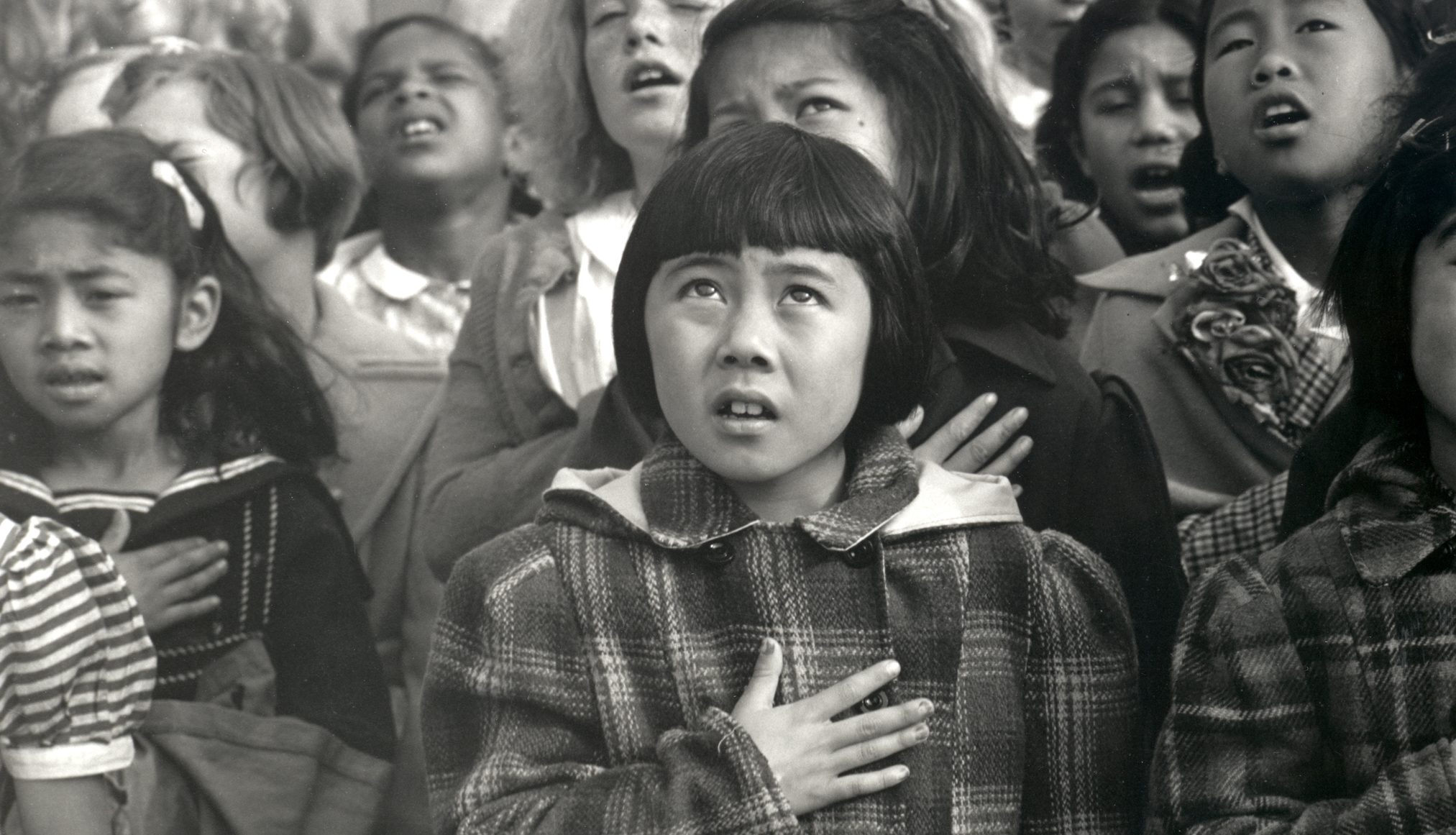 Dorothea Lange, One Nation Indivisible, 1942. © The Dorothea Lange Collection, the Oakland Museum of California, City of Oakland. Gift of Paul S. Taylor.