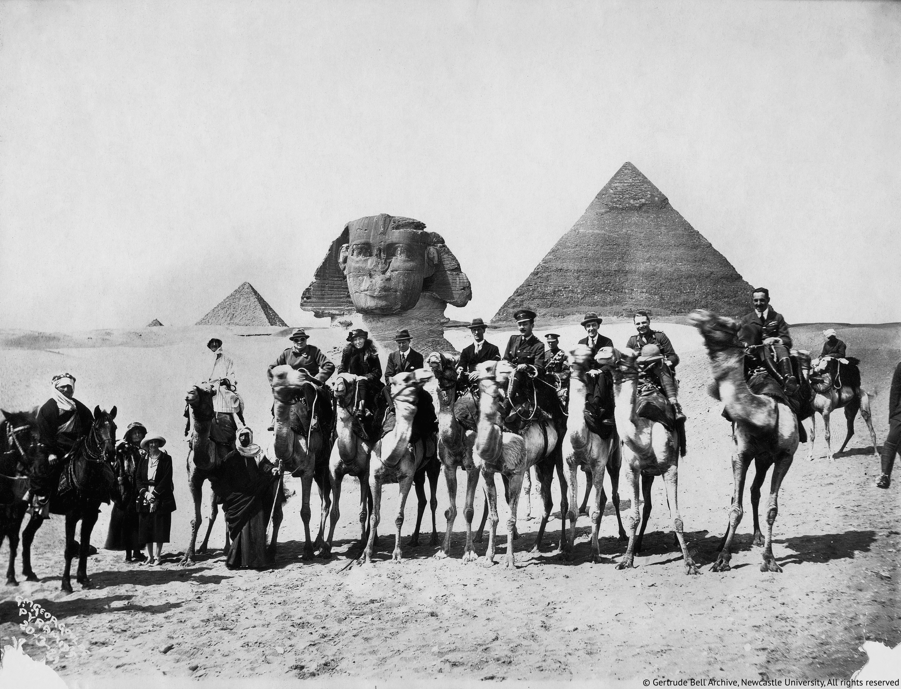 Gertrude Bell seated-between Winston Churchill and T.E.Lawrence. Cairo-Conference,1921.