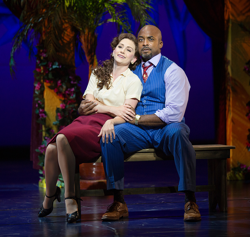 Audrey Cardwell as Sarah Brown and Terence Archie as Sky Masterson.  Photo by Jim Cox.
