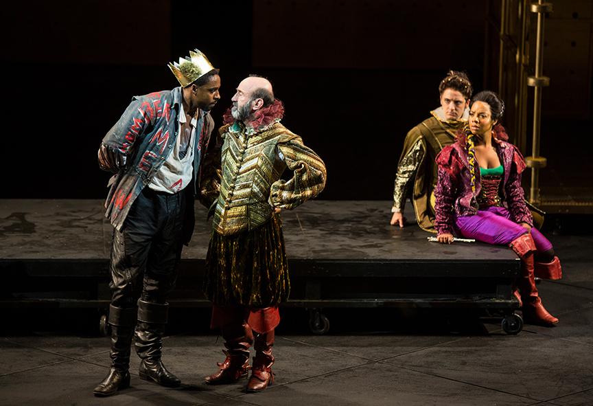 (from left) Grantham Coleman as Hamlet Patrick Kerr as Polonius, Kevin Hafso-Koppman as Rosencrantz, and Nora Carroll as Guildenstern .  Photo:  Jim Cox.