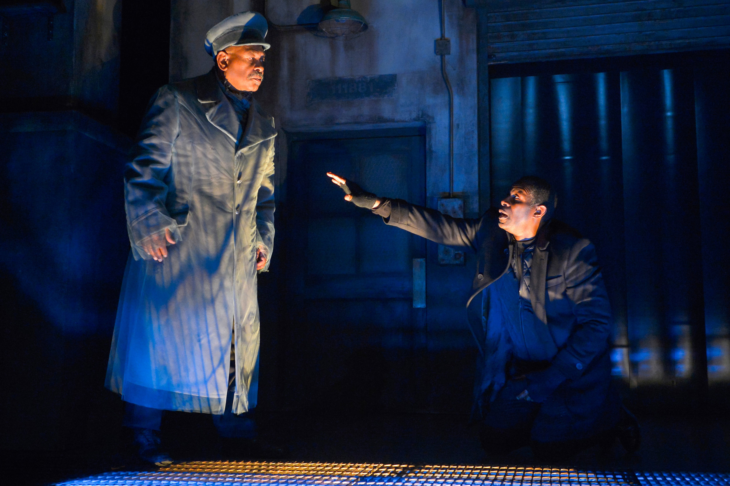 Hamlet (John Douglas Thompson, right) is visited by the Ghost of his father (Steven Anthony Jones) | Photo: Kevin Berne