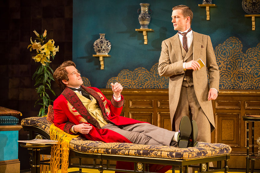 (from left) Christian Conn as Algernon Moncrieff and Matt Schwader as John Worthing. Photo by Jim Cox.
