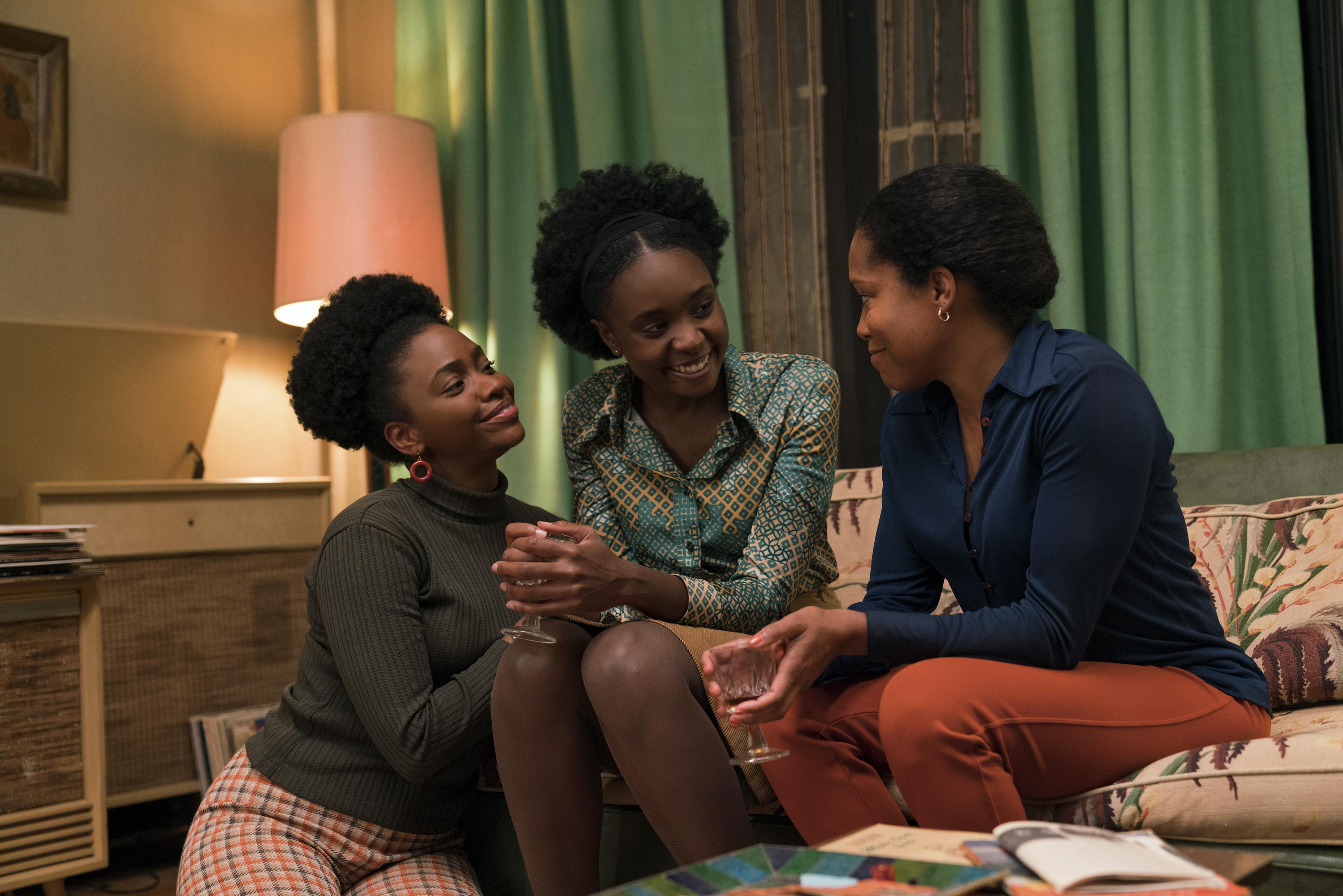 Teyonah Parris as Ernestine, KiKi Layne as Tish, and Regina King as Sharon .