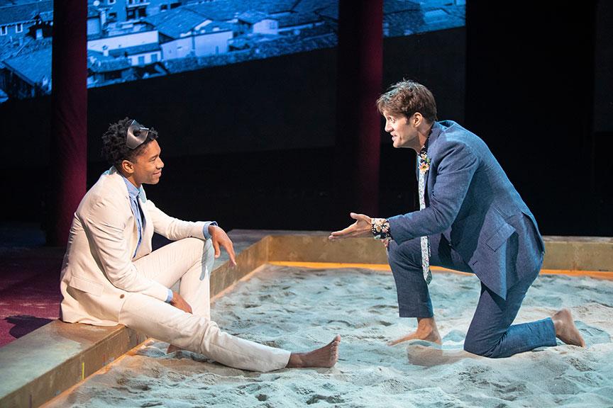 Aaron Clifton Moten as Romeo and Ben Chase Mercutio. Photo: Jim Cox.