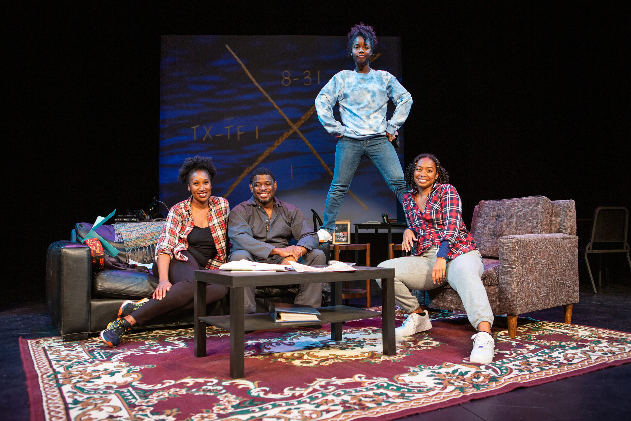 The cast of [hieroglyph] (L-R): Safiya Fredericks, Khary L. Moye, Jamella Cross, and Anna Marie Sharpe. Presented by San Francisco Playhouse and Lorraine Hansberry Theatre,