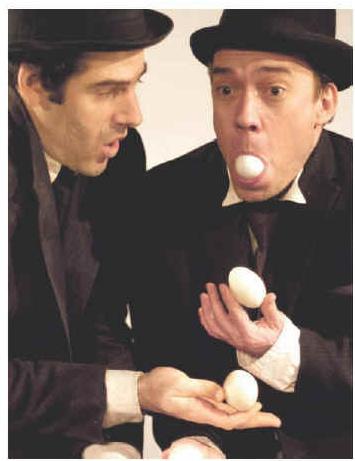 all wear bowlers – Geoff Sobelle and Trey Lyford